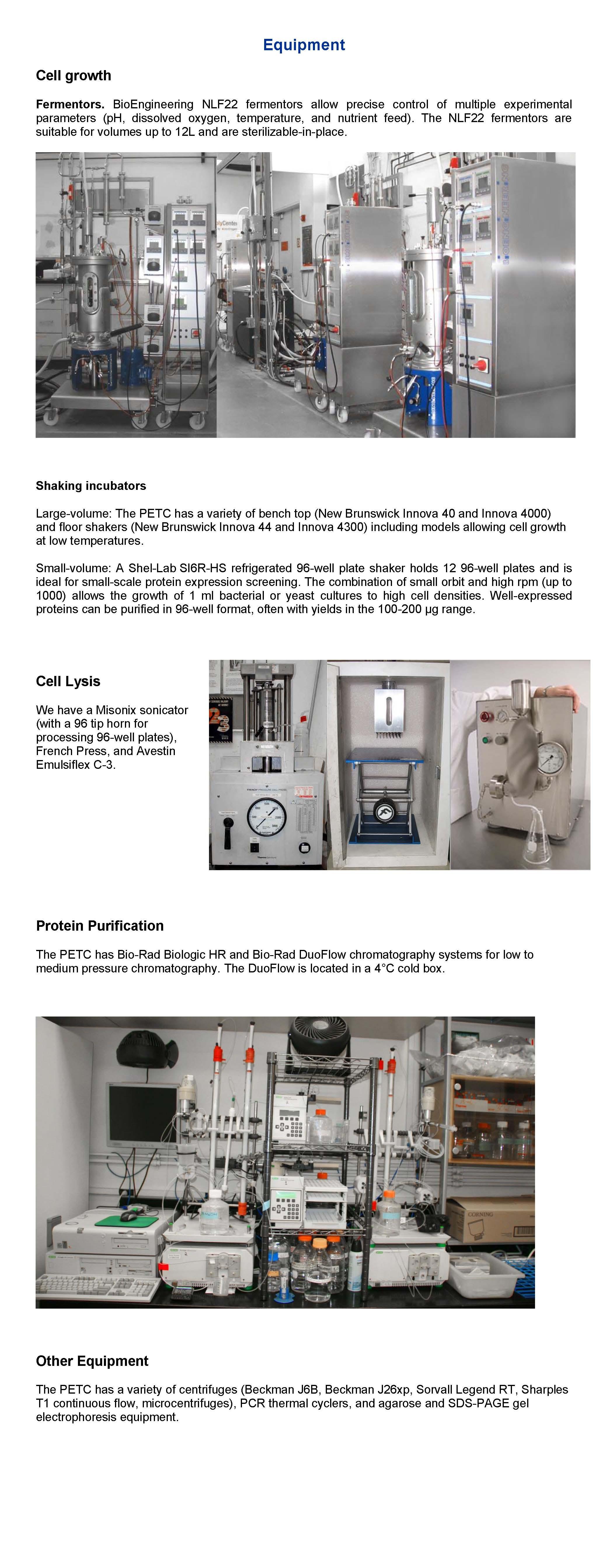 PETC Equipment
